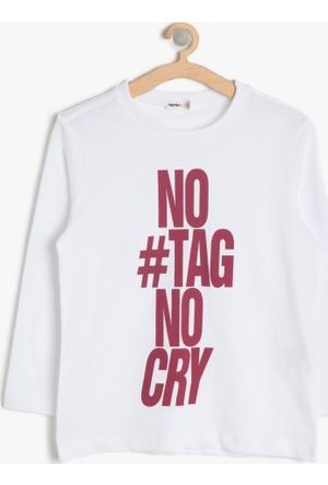 Koton Erkek Çocuk Yazılı Baskılı T-Shirt Beyaz