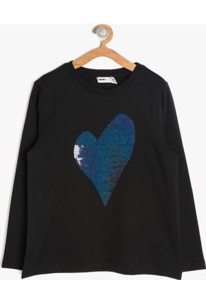 Koton Kız Çocuk Pul Detaylı Sweatshirt Siyah