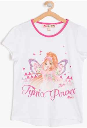 Koton Kız Çocuk Winx Club Baskılı T-Shirt Beyaz