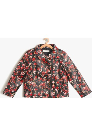 Koton Kız Çocuk Çiçekli Ceket Siyah