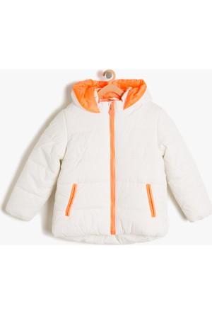 Koton Kız Çocuk Fermuar Detaylı Mont Beyaz