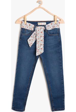 Koton Kız Çocuk Beli Bağlamalı Jean Pantolon Mavi