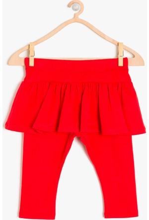 Koton Kız Çocuk Fırfır Detaylı Tayt Kırmızı