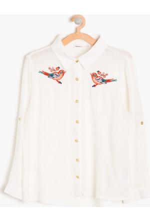 Koton Kız Çocuk İşlemeli Gömlek Beyaz