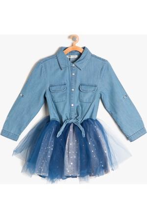 Koton Kız Çocuk Tül Detaylı Elbise Mavi