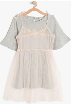Koton Kız Çocuk Tül Detaylı Elbise Gri