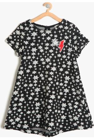 Koton Kız Çocuk Desenli Elbise Siyah
