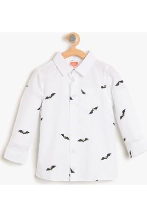 Koton Erkek Çocuk Batman Baskılı Gömlek Beyaz