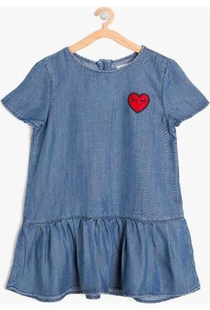 Koton Kız Çocuk Aplikeli Elbise İndigo
