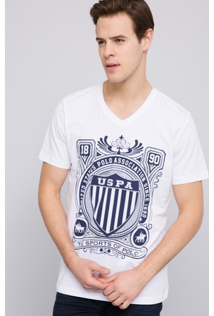 U.S. Polo Assn. Erkek Empire V Yaka T-Shirt Beyaz