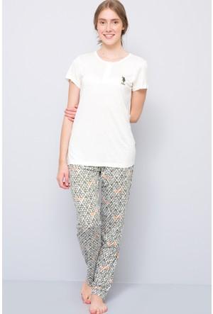 U.S. Polo Assn. Kadın Patli Pijama Takımı Bej