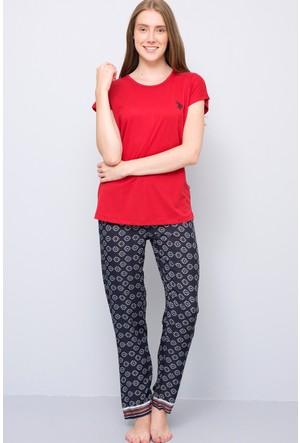 U.S. Polo Assn. Kadın Yuvarlak Yaka Pijama Takımı Kırmızı