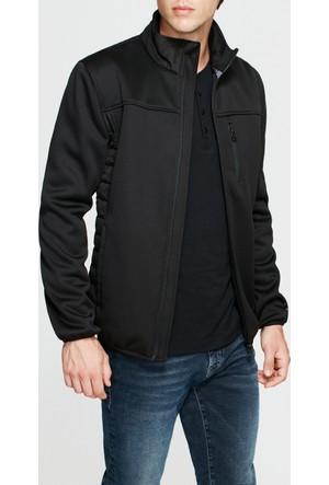 Mavi Fermuarlı Siyah Ceket