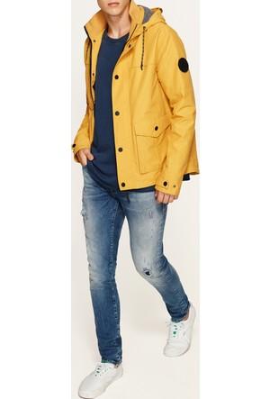 Mavi Cep Detaylı Sarı Ceket