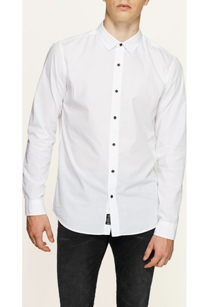 Mavi Uzun Kollu Beyaz Gömlek