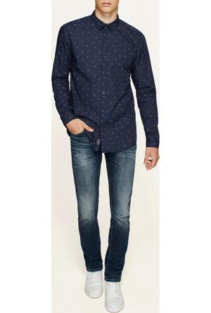 Mavi Baskılı Lacivert Gömlek