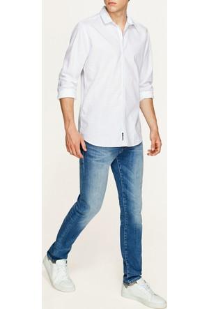 Mavi Cepsiz Baskılı Beyaz Gömlek