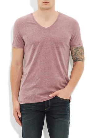 Mavi Bordo V Yaka T-Shirt
