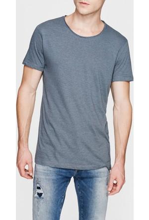 Mavi Çizgili Mavi Basic T-Shirt