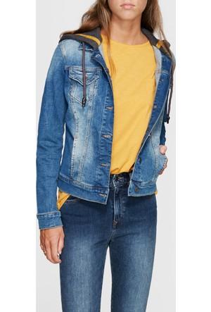 Mavi Darcy Kapüşonlu Jean Ceket