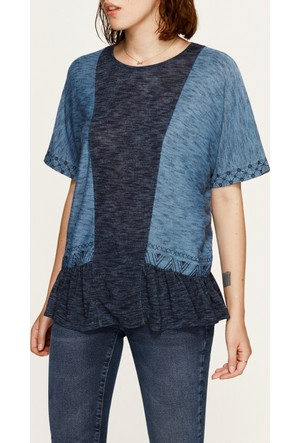Mavi Fırfırlı Mavi T-Shirt