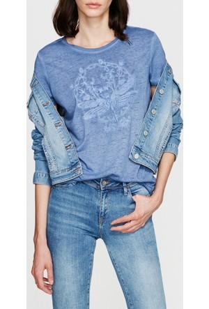 Mavi Nakışlı Mavi T-Shirt