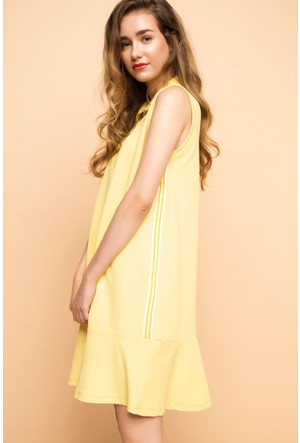 DeFacto Kadın Kolsuz Polo Yaka Elbise Sarı