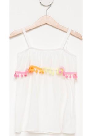 DeFacto Kız Çocuk Ponponlu Askılı Bluz Beyaz