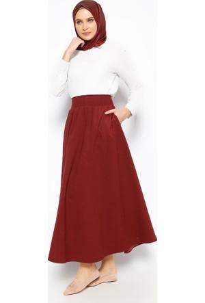 Beli Lastikli Etek - Bordo - Eva Fashion