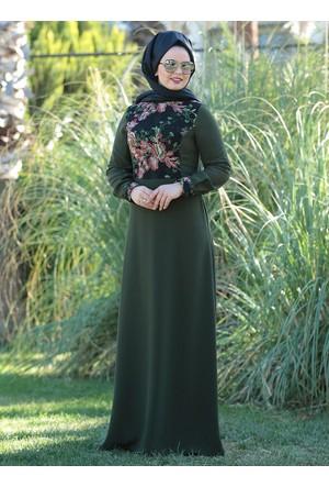 Dantel Detaylı Elbise - Haki - Saliha
