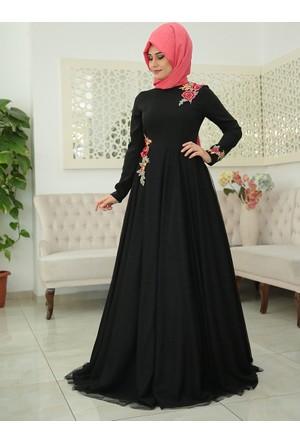 Elisa Abiye Elbise - Siyah - Somfashion