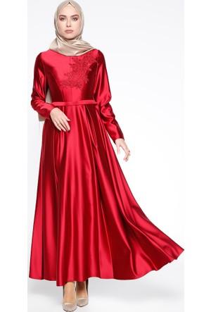 Dantel Detaylı Abiye Elbise - Kırmızı - Puane