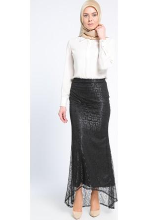 Dantelli Abiye Etek - Siyah - Sevilay Giyim