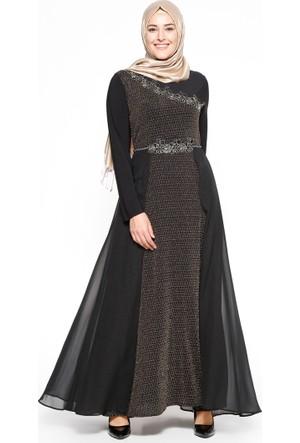Güpür Detaylı Abiye Elbise - Siyah Altın - Bürün