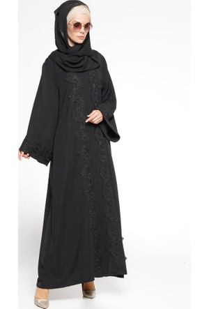 Fransız Dantelli Abaya - Siyah - Mustafa Dikmen