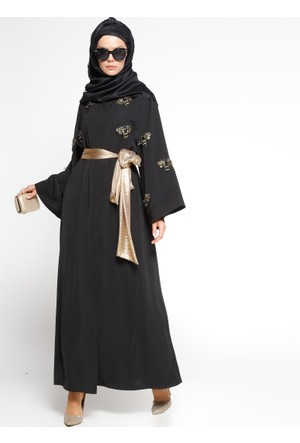 Taş Süslemeli Kuşaklı Abaya - Siyah - Mustafa Dikmen