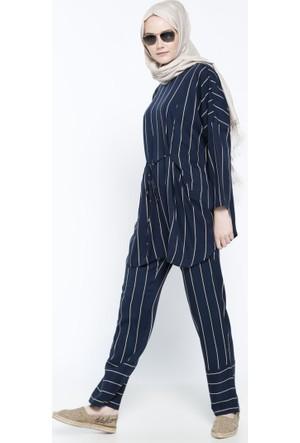 Doğal Kumaşlı Çizgili Pantolon - Lacivert Ekru - Everyday Basic