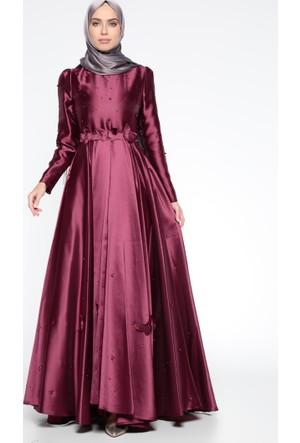 İnci Detaylı Abiye Elbise - Mürdüm - Puane