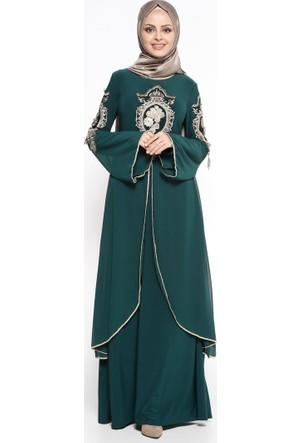 Güpürlü Abiye Elbise - Yeşil - Bürün