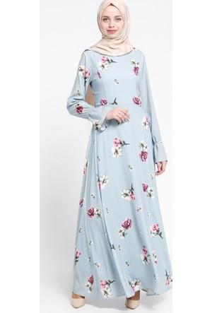 Floral Desenli Elbise - Mavi - Sevilay Giyim