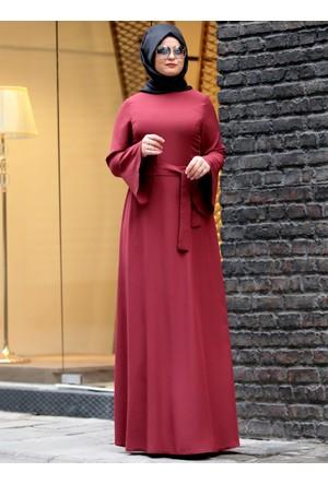 Volanlı Elbise - Bordo - Saliha