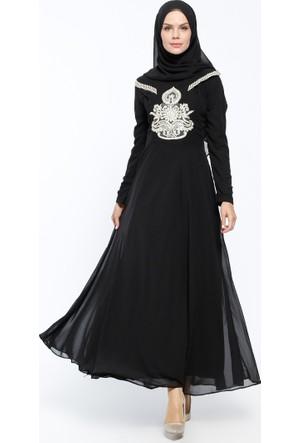 Güpürlü Abiye Elbise&Eşarp 2'li Takım - Siyah - Bürün