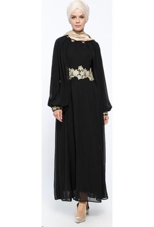 Güpür Detaylı Abiye Elbise - Siyah - Bürün