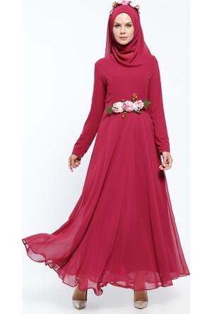 Abiye Eşarp&Elbise 2'li Takım- Fuşya - Bürün