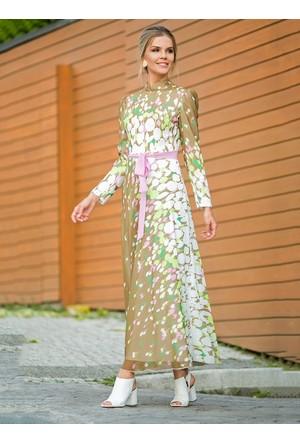 Balon Desenli Elbise - Haki - Zehrace