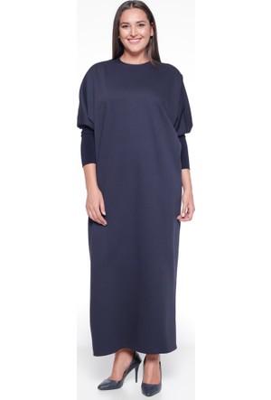 Yarasa Kollu Elbise - Koyu Lacivert - Pardesü Dünyası