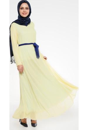Puantiyeli Elbise - Sarı - Pardesü Dünyası