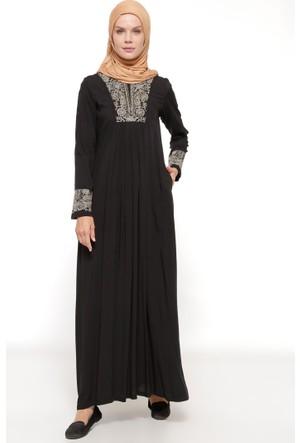 Drop Baskılı Elbise - Siyah - Ginezza