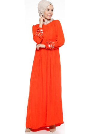 Nakış Detaylı Elbise - Nar - Tuncay