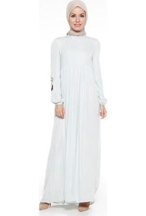 Kolları Nakış İşlemeli Elbise - Mint Yeşili - Tuncay